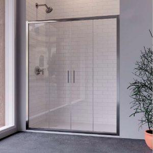 Mampara de ducha frontal con puertas correderas