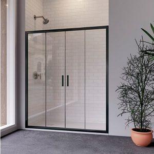 Mampara de ducha frontal con puertas correderas negra